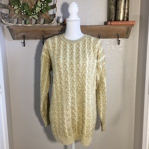 Vintage Womens Holiday Sweater Cable Knit Metallic
